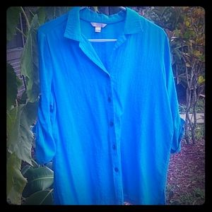 Tops - Royal blue L 3/4 sleeves thin button up blouse